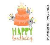 cute happy birthday card . | Shutterstock .eps vector #796787836