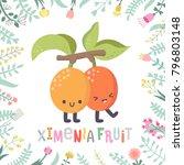 cute cartoon ximenia fruit...   Shutterstock .eps vector #796803148