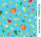 vegetables and fruits seamless... | Shutterstock .eps vector #796803226