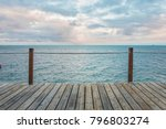wooden pier and turquoise... | Shutterstock . vector #796803274