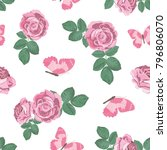 cute background with roses and... | Shutterstock .eps vector #796806070