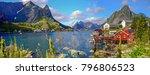 reine in lofoten islands ... | Shutterstock . vector #796806523