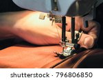 seamstress sews clothes made of ... | Shutterstock . vector #796806850