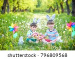 two boys in the park  having... | Shutterstock . vector #796809568