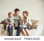 portrait of a happy family and... | Shutterstock . vector #796811620