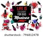 nail polish bottles banner... | Shutterstock .eps vector #796812478