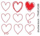 set of nine red hand drawn... | Shutterstock .eps vector #796814188