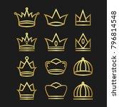 crown set royal king vector... | Shutterstock .eps vector #796814548