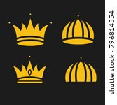 crown set royal king vector... | Shutterstock .eps vector #796814554