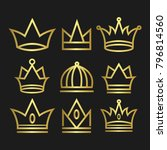 crown set royal king vector... | Shutterstock .eps vector #796814560
