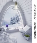 cozy small white room on cold... | Shutterstock . vector #796815019