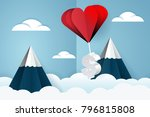heart air balloon carries... | Shutterstock . vector #796815808