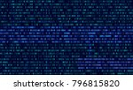 binary code  blue digits on the ... | Shutterstock .eps vector #796815820