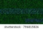 binary code  green digits on... | Shutterstock .eps vector #796815826