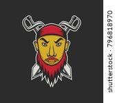 pirate  captain mascot vector... | Shutterstock .eps vector #796818970