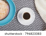 tiny white cup of black strong ... | Shutterstock . vector #796823383