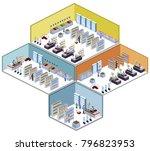 isometric 3d illustration set... | Shutterstock . vector #796823953