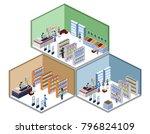 isometric 3d illustration set... | Shutterstock . vector #796824109