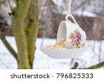 Teacup Bird Feeder Made From A...