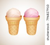 cold ice cream in the waffer... | Shutterstock .eps vector #796827910