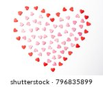 small red and pink sugar hearts ... | Shutterstock . vector #796835899