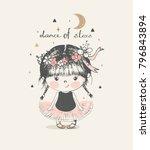 cute baby girl ballerina... | Shutterstock .eps vector #796843894