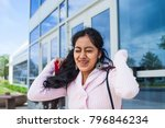 cheerful student passed her... | Shutterstock . vector #796846234