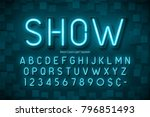neon light 3d alphabet  extra... | Shutterstock .eps vector #796851493