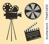 vintage camera tripod and film...   Shutterstock .eps vector #796851850