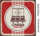 cinema coming soon poster retro ... | Shutterstock .eps vector #796851856