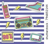 fashion 90s patches retro... | Shutterstock .eps vector #796852144