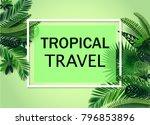 vector tropical travel banner... | Shutterstock .eps vector #796853896