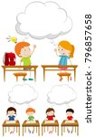 boys and girls in classroom... | Shutterstock .eps vector #796857658