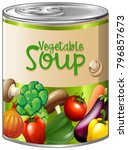 vegetable soup in aluminum can... | Shutterstock .eps vector #796857673
