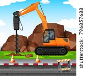 man digging hole with drill at... | Shutterstock .eps vector #796857688
