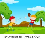 two boys playing baseball in... | Shutterstock .eps vector #796857724