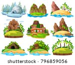 islands in nature with water... | Shutterstock .eps vector #796859056