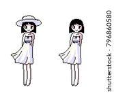 pixel art  girl cartoon    Shutterstock .eps vector #796860580