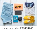 men's casual outfits of... | Shutterstock . vector #796863448