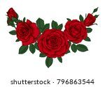beautiful bouquet with red... | Shutterstock . vector #796863544