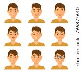 isolated boy avatars with... | Shutterstock .eps vector #796872640