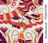 seamless mehndi vector pattern. ...   Shutterstock .eps vector #796873783