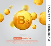 vitamin b6 gold icon. retinol... | Shutterstock .eps vector #796879024