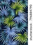 hawaiian pattern using leaves...   Shutterstock . vector #796884790
