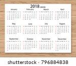 calendar 2018 year in simple... | Shutterstock .eps vector #796884838