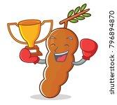 boxing winner tamarind mascot... | Shutterstock .eps vector #796894870