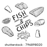 famous british fast food   fish ... | Shutterstock .eps vector #796898020