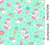 cute pastel unicorn   rainbow... | Shutterstock .eps vector #796907698
