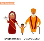 happy indian family in national ... | Shutterstock .eps vector #796910650