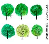 vector set of deciduous trees...   Shutterstock .eps vector #796913656